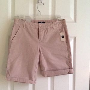 GAP Pink Boyfriend Shorts Khaki Roll Up Sz 00 NWT